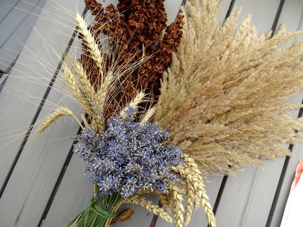 Weizen, Sorghumhirse, Lavendel - Trockenblumenstrauß