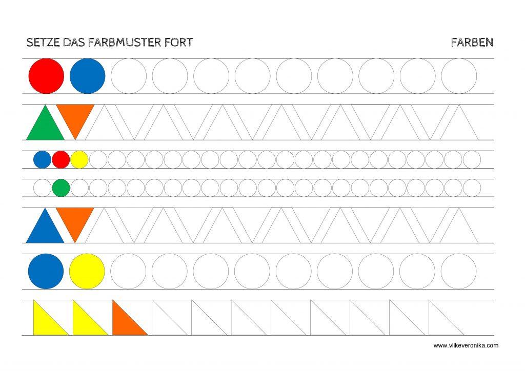 Vorschularbeitsblätter zum ThemaFormen und Muster