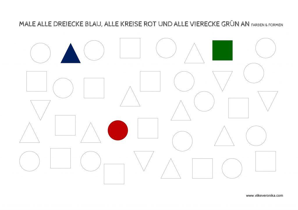 Vorschularbeitsblätter zum Erkennen von Formen wie Kreis, Dreieck und Quadrat