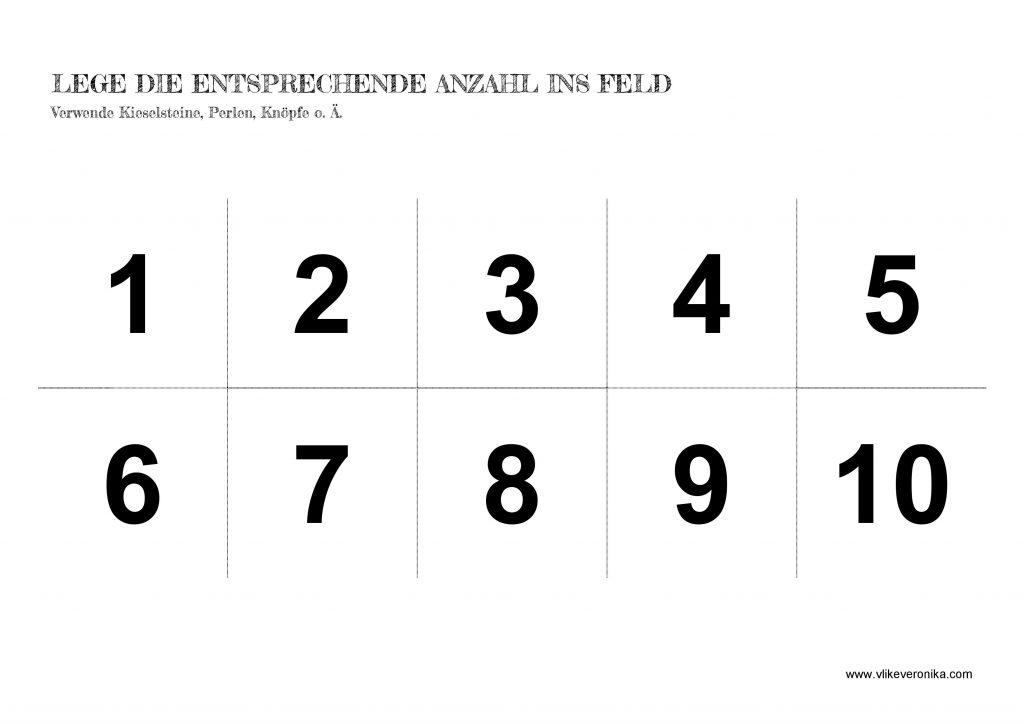 Vorschularbeitsblätter Zahlen Zahlenraum 1-10