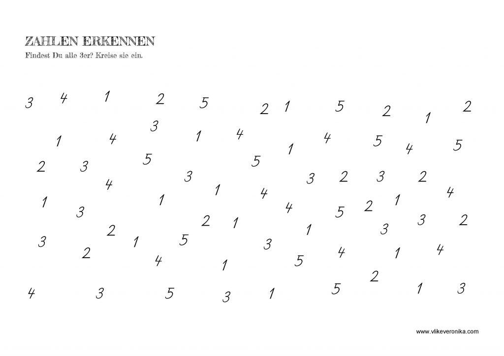 Vorschularbeitsblätter Zahlenraum 1 bis 10