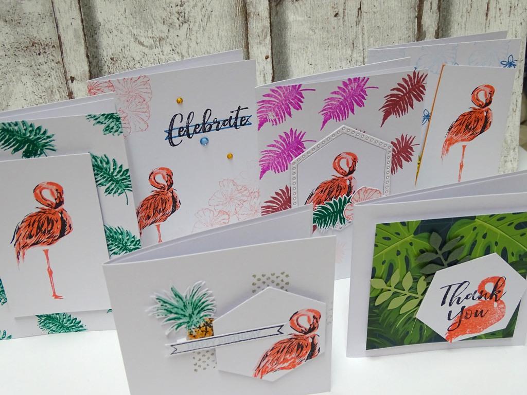 Grußkarten mit Flamingos