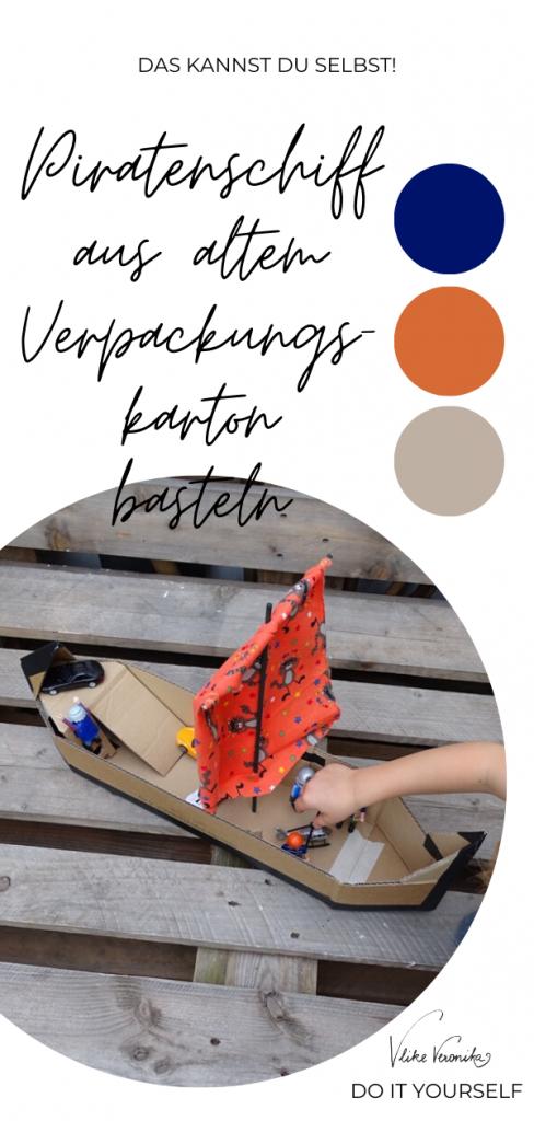 Aus Karton kannst Du ein tolle Schiff basteln - Bastelanleitung von DIY-Bloggerin Veronika