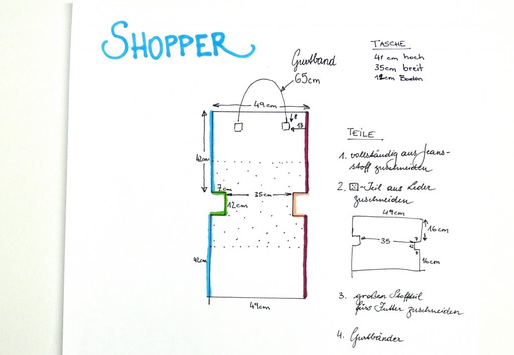Shopper nähen: Skizze und Anleitung zum Tasche nähen