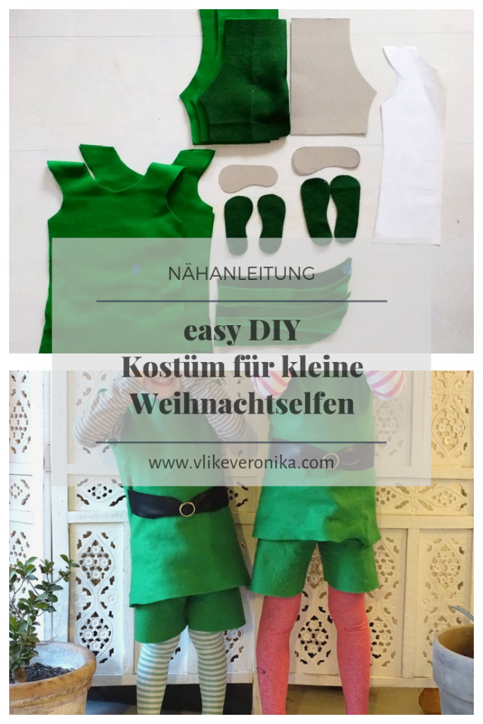Weihnachtselfenkostüm gratis Nähanleitung