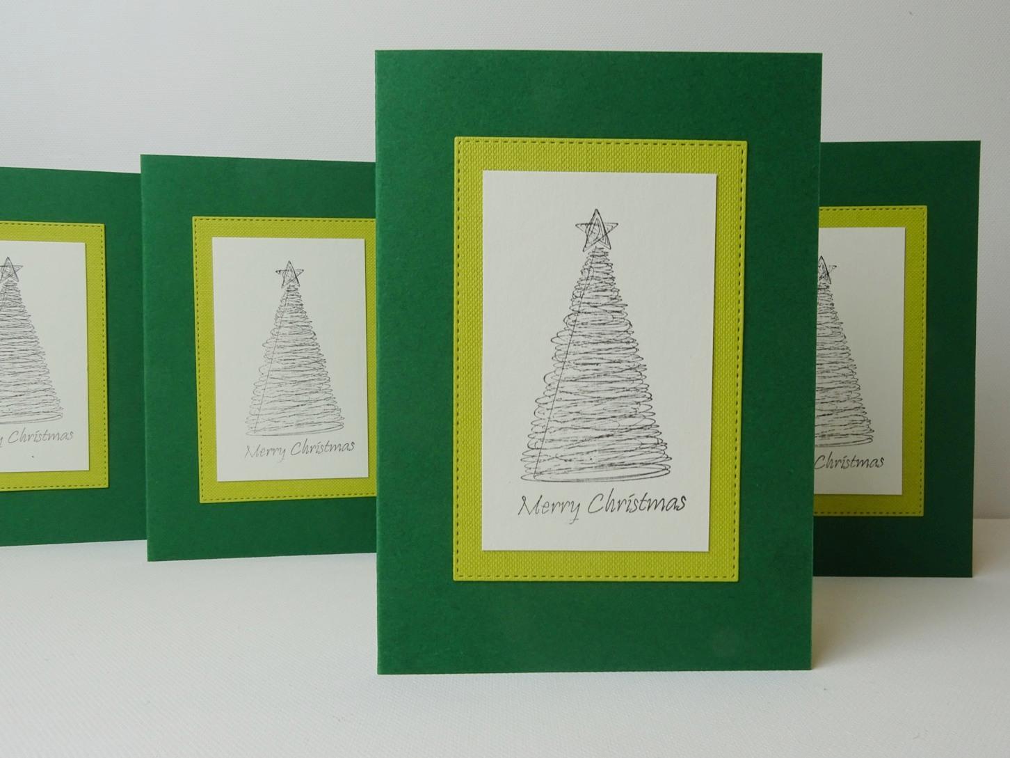 Weihnachtskarten mit Stempeltechnik basteln