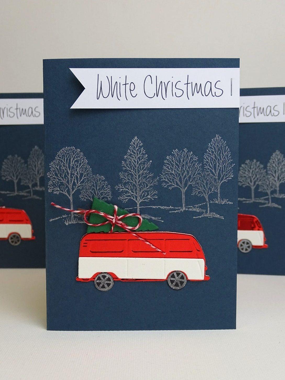 Weihnachtskarte mit VW Bulli basteln