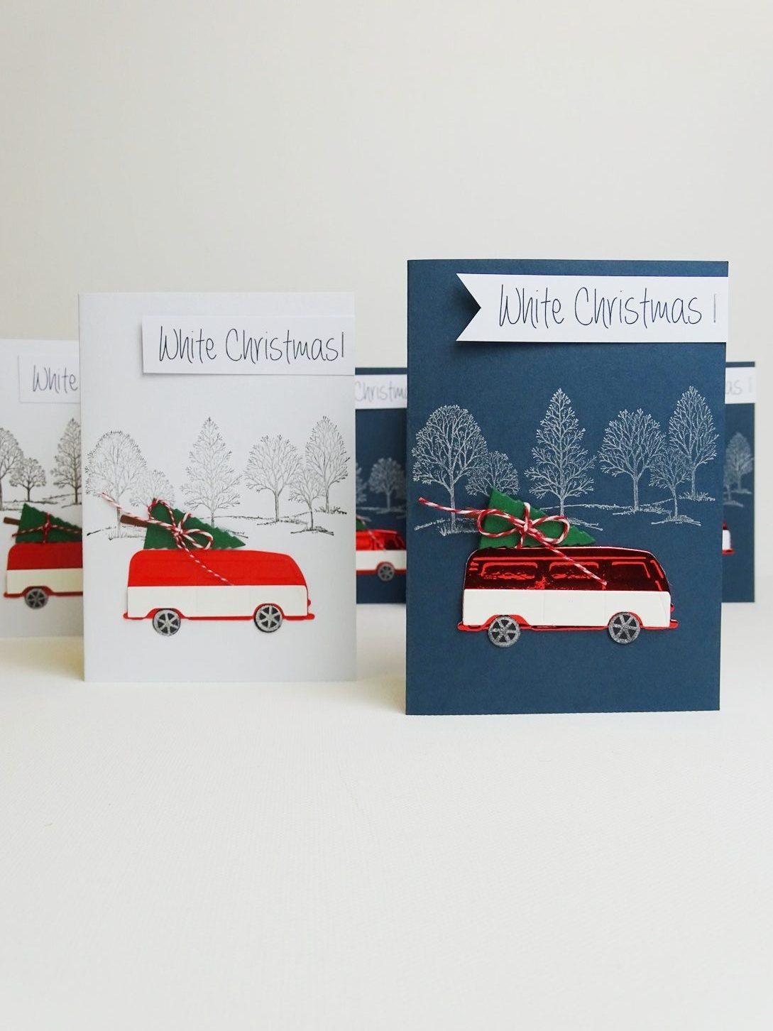 Weihnachtskarte mit VW Bus selber basteln