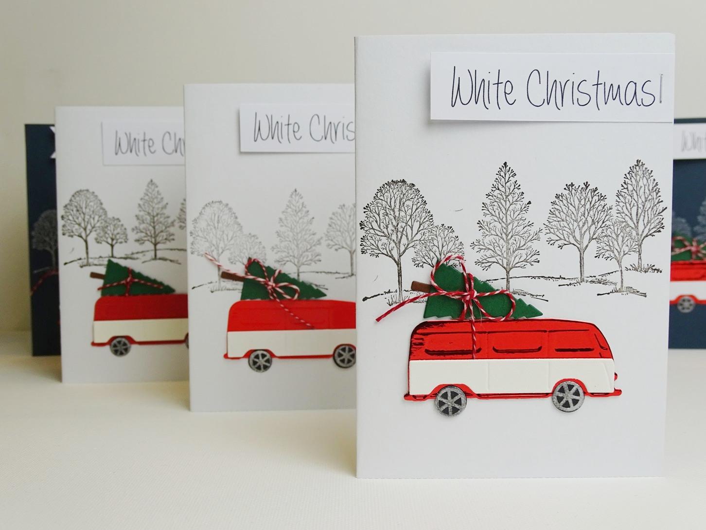 Weihnachtskarten für VW Liebhaberinnen basteln