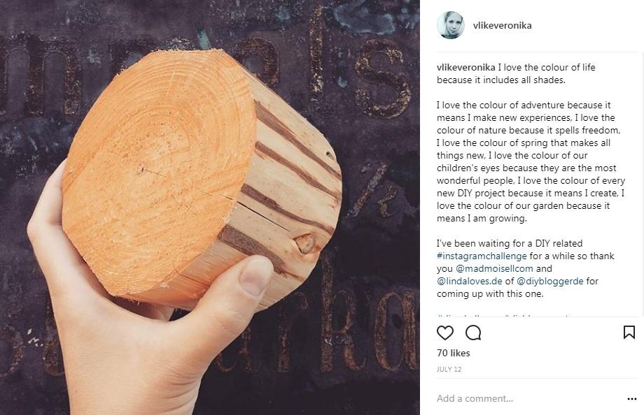 VlikeVeronika auf Instagram, Baumstammscheibe bedrucken, Holzdruck