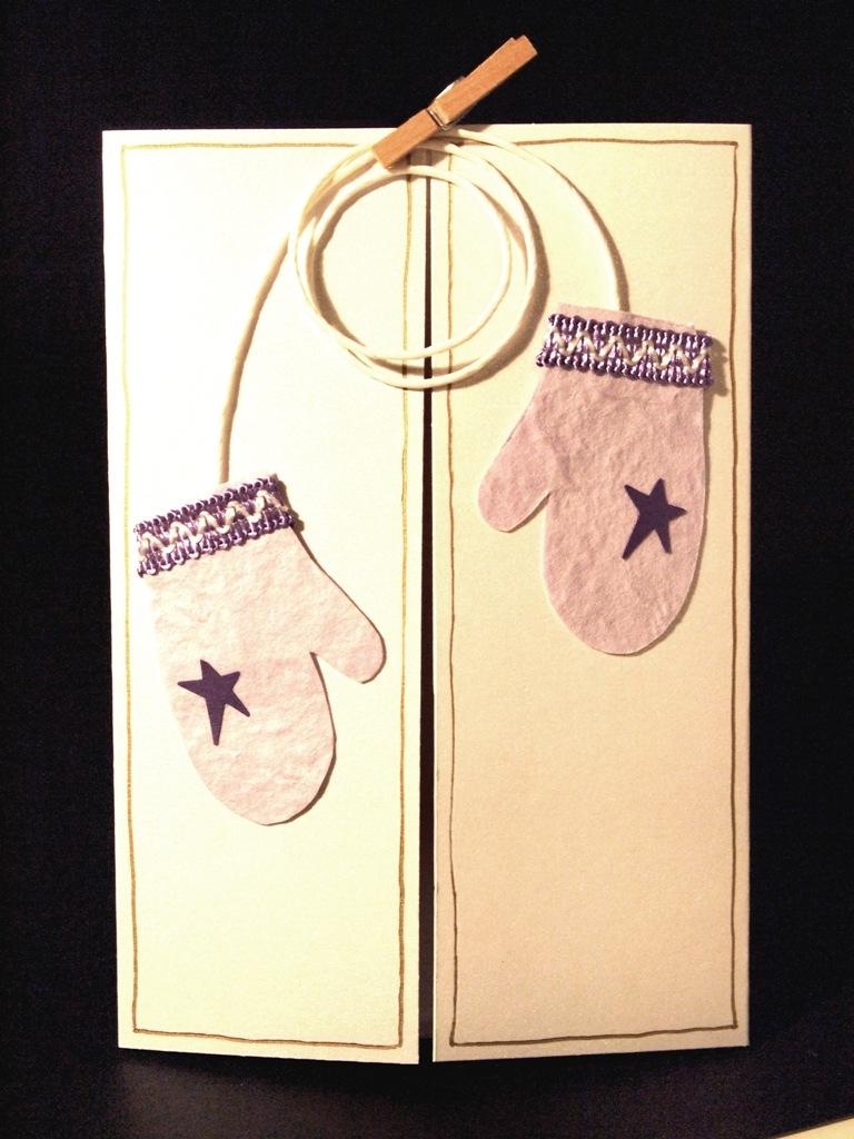 handgemachte Weihnachtskarten für Firmen mit Fäustlingen