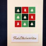 handgemachte Weihnachtskarten für Firmen in rot, hellgrün, dunkelgrün