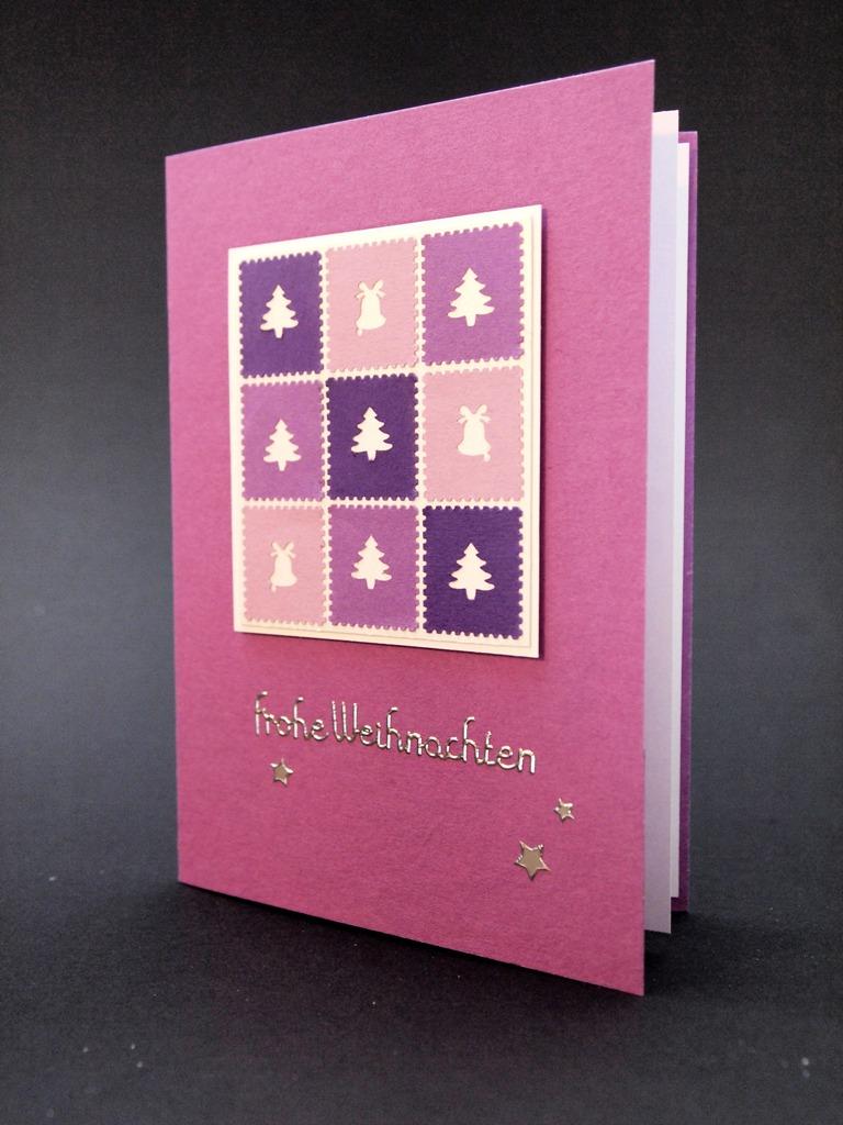 handgemachte Weihnachtskarten für Firmen, violett, lila und rosa