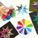 Fadenbilder sticken: Blume, Stern, Schneeflocke, kostenlose Schablone mit Anleitung