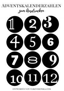 Adventkalenderzahlen zum Ausdrucken in Schwarz und Weiß mit vielen Schriftarten, rund, 1-12