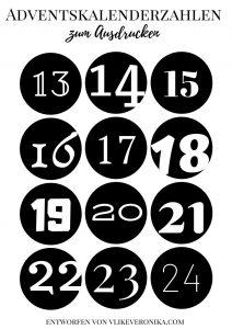 Adventkalenderzahlen zum Ausdrucken in Schwarz und Weiß mit vielen Schriftarten, kreisrund