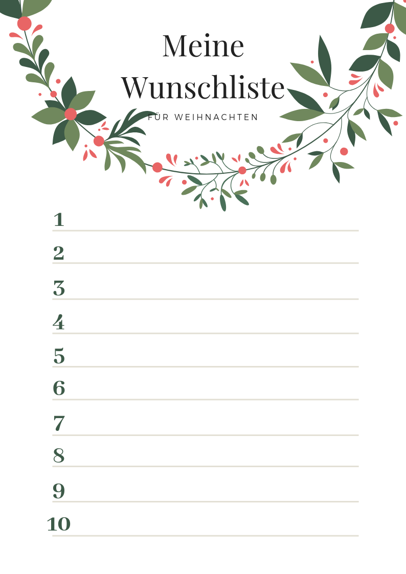 Wunschliste für Weihnachten - gratis Wunschzettel-Vorlage