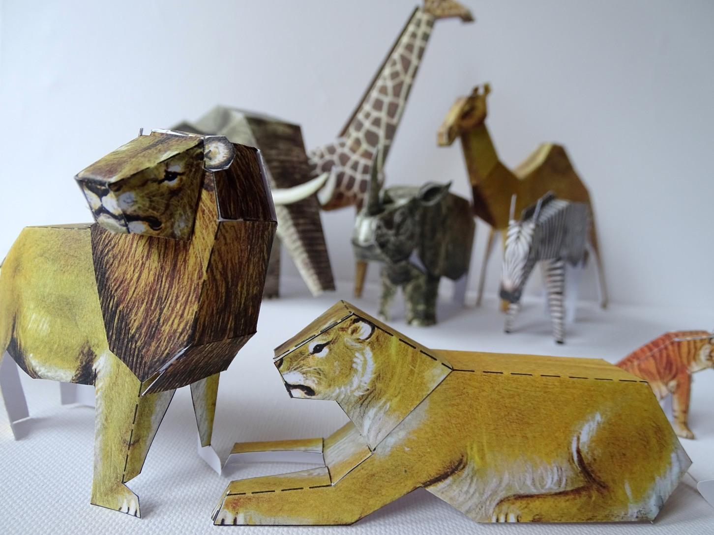 Bastelbogen mit 12 Zootieren basteln