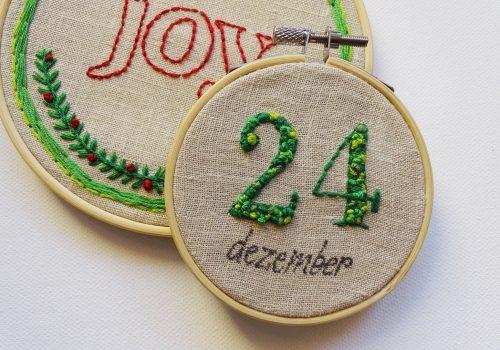 DIY-Ideen mit alten Vorhängen: Kleine Weihnachtsgeschenke basteln: Stickbilder als Mini-Geschenk