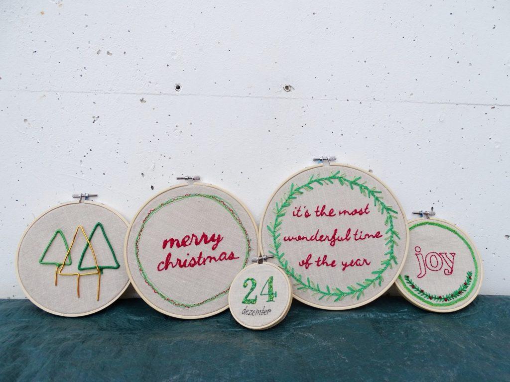 Stickbilder für Weihnachten im Stickrahmen sticken und verschenken