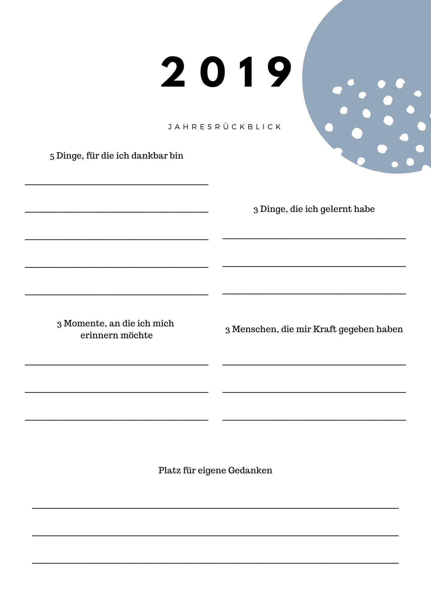 Jahresrückblich - persönliche Fragen an Dich selbst, Dankbarkeitschallenge
