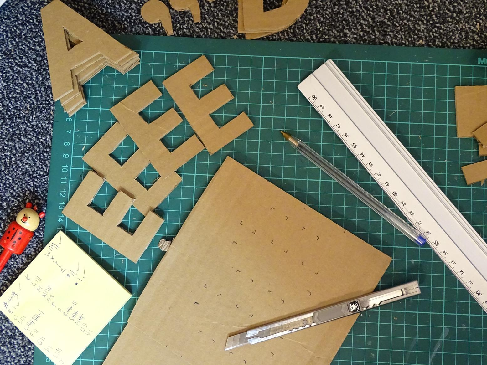 Buchstaben aus Karton ausschneiden: Kostenlose Vorlagen herunterladen bei VlikeVeronika