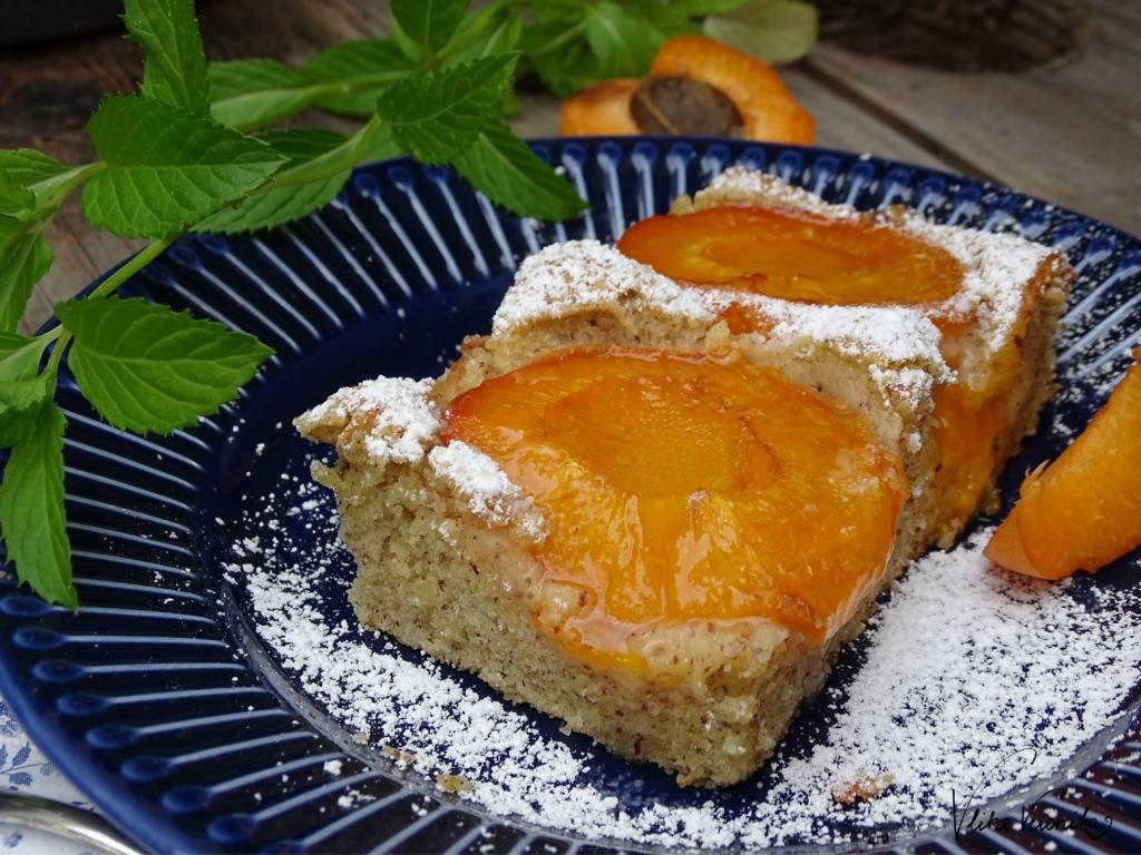 Leckerer Kuchen für Sommerpicknicks: einfacher Marillenkuchen mit Nüssen