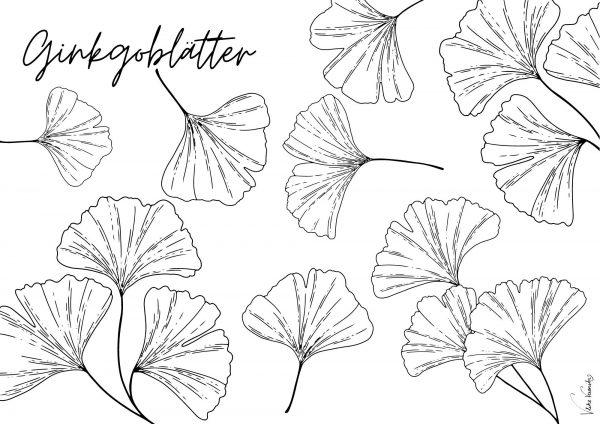 Ginkgoblätter: Das Ausmalbild zum Herunterladen und Gestalten