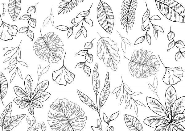 Zauberhaftes Ausmalbild mit Blättern für den Herbst