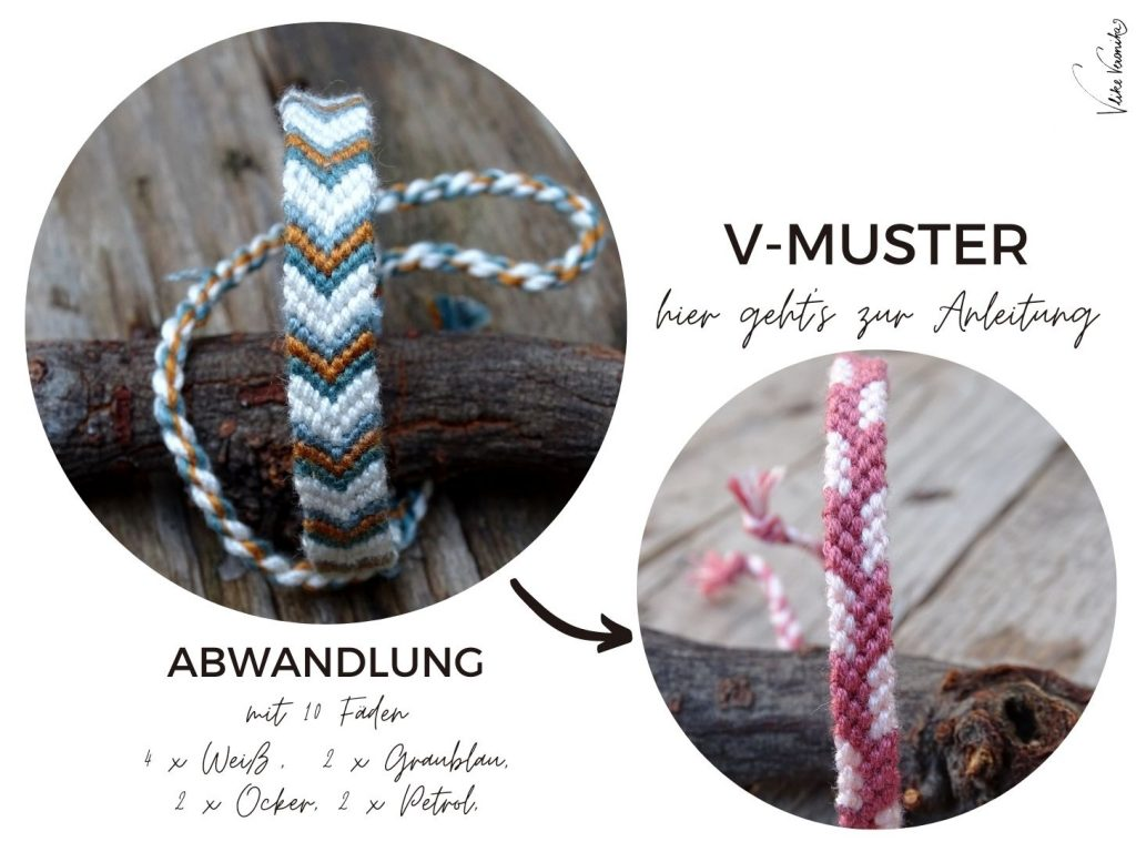 Das V-Muster ist ein klassisches Muster für geknüpfte Freundschaftsbänder. Die Anleitung kannst Du Dir als pdf herunterladen.