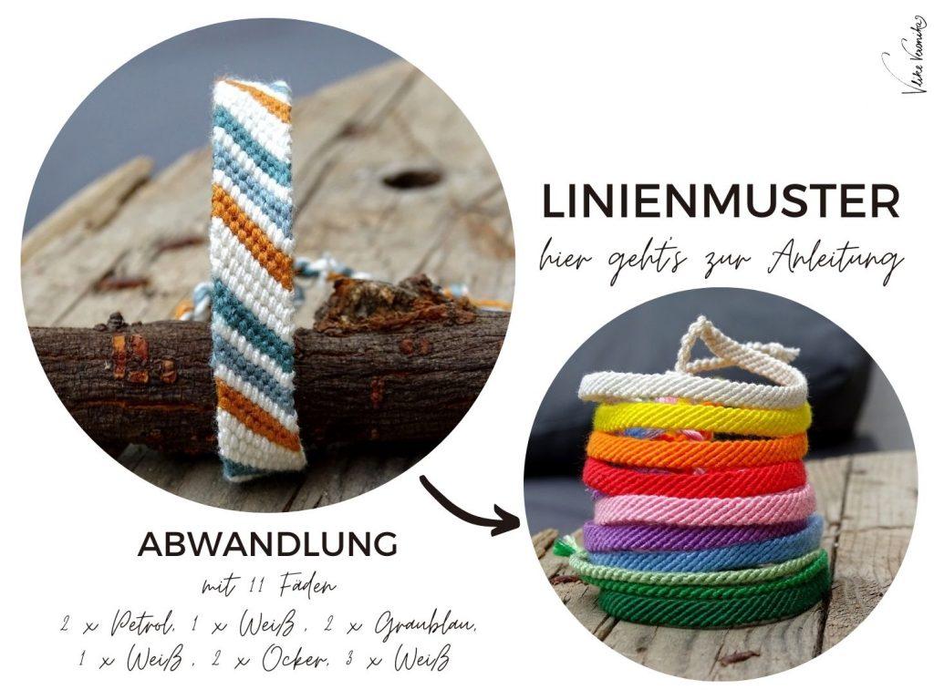 Ein cooles Linienmuster als geknüpftes Freundschaftsarmband gelingt auch mit wenigen Farben. Freundschaftsbänder knüpfen lernen geht so einfach.