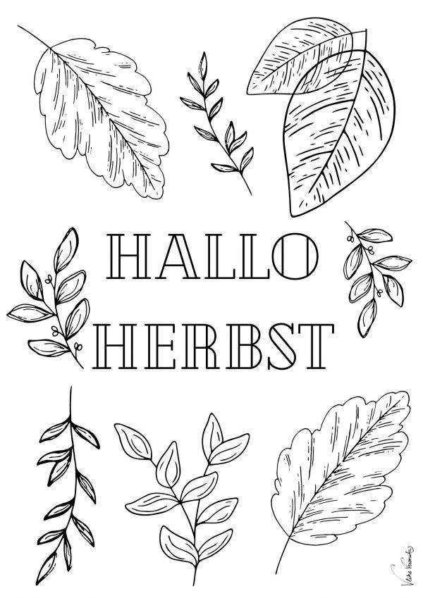 Hallo Herbst: Herbstblätter als Ausmalbild für Kinder