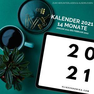 Kalender zum Herunterladen und Ausdrucken für 2021, inklusive Januar und Februar 2022