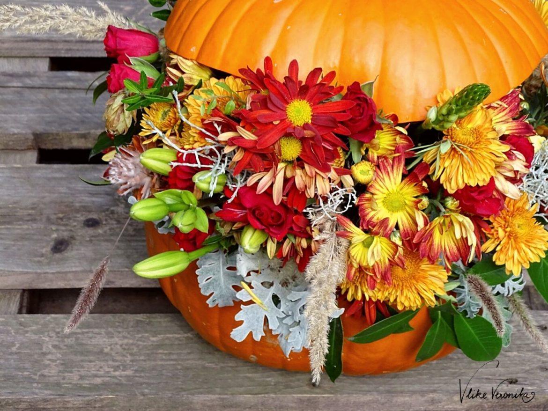Einen Kürbis mit Blumen zu dekorieren ist eine schöne Alternative zum geschnitzen Halloween-Kürbis.