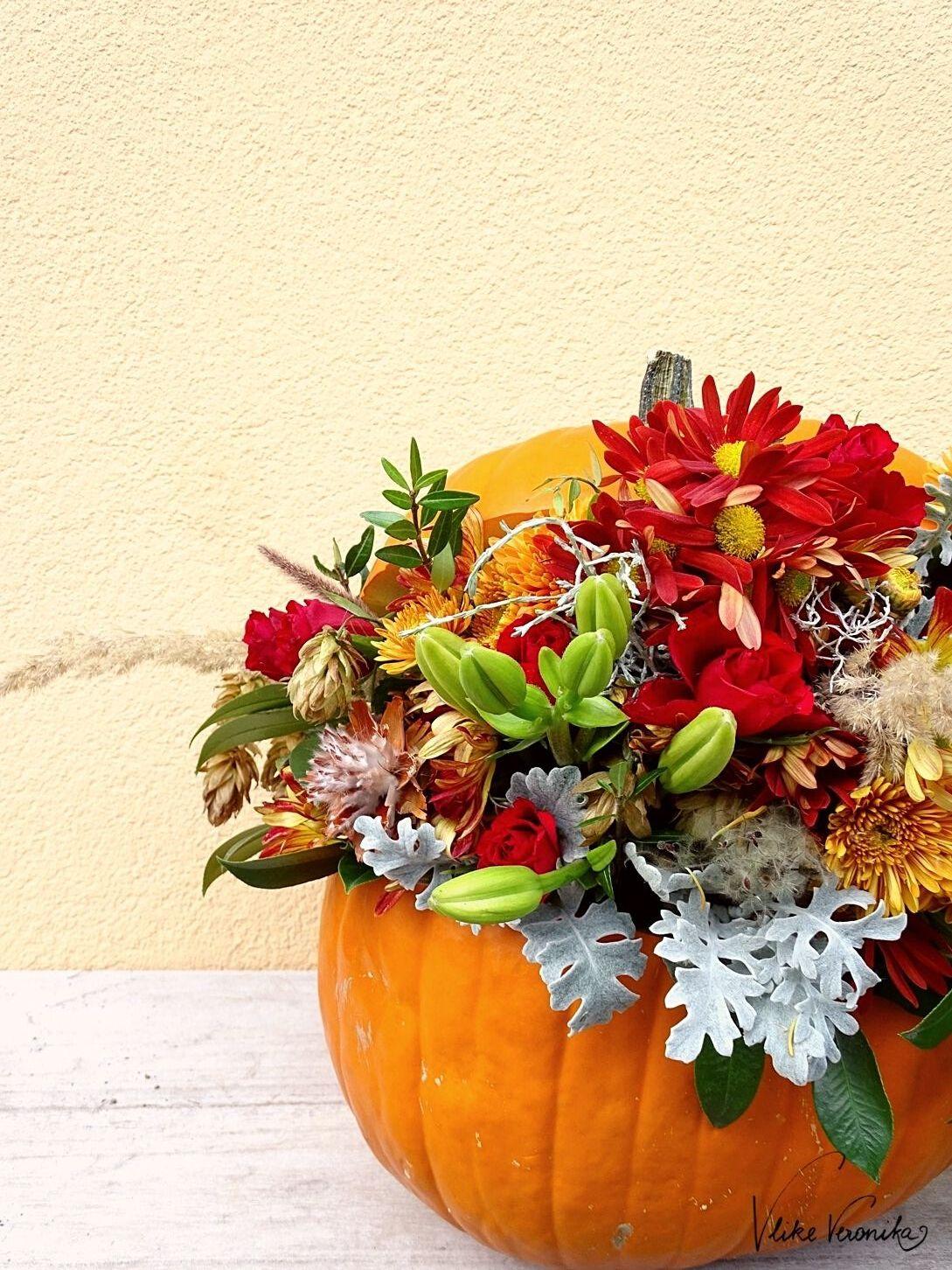 Pumpkin Art - Kürbis mit Blumen verzieren