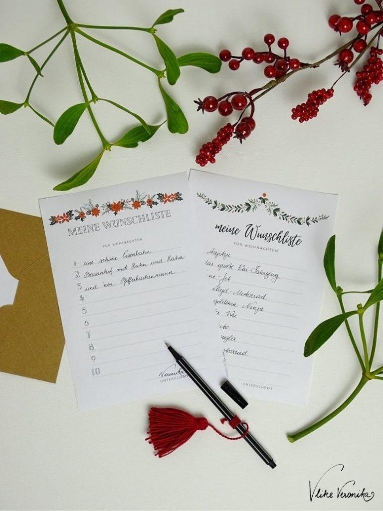 Wunschliste für Weihnachten als pdf-Vorlage gratis herunterladen