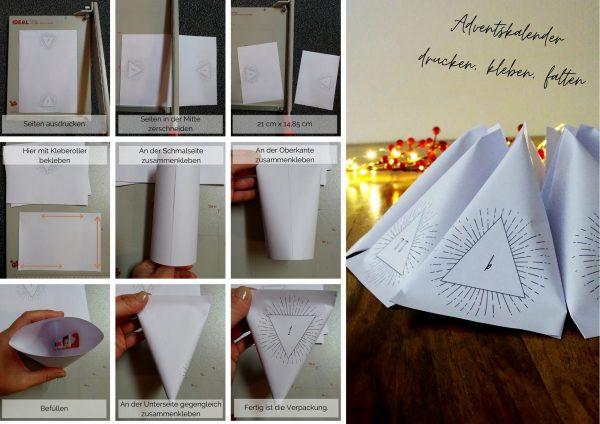 Dreieckige Adventskalendertüten aus Papier ausdrucken und falten.