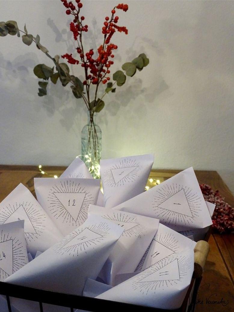 Adventskalendertüten zum Ausdrucken - einfach als pdf-Datei in Dein Postfach holen.