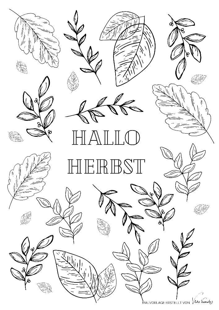 Hallo Herbst: Das Ausmalbild mit Laub und tanzenden Blättern für Kinder und Erwachsene.
