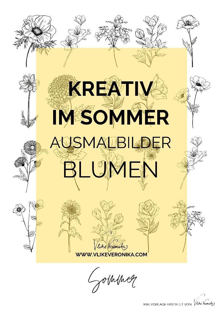 Ausmalbilder für Kinder und Erwachsene: Sommerblumen