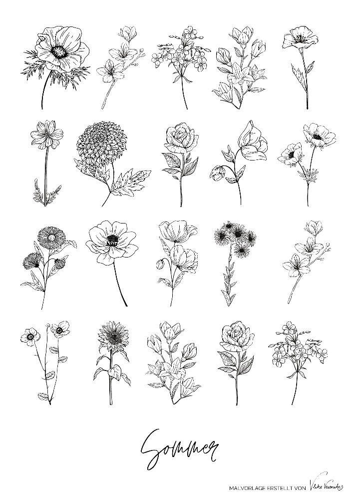 Ausmalbild für den Muttertag gesucht? Male die Sommerblumen bunt an.