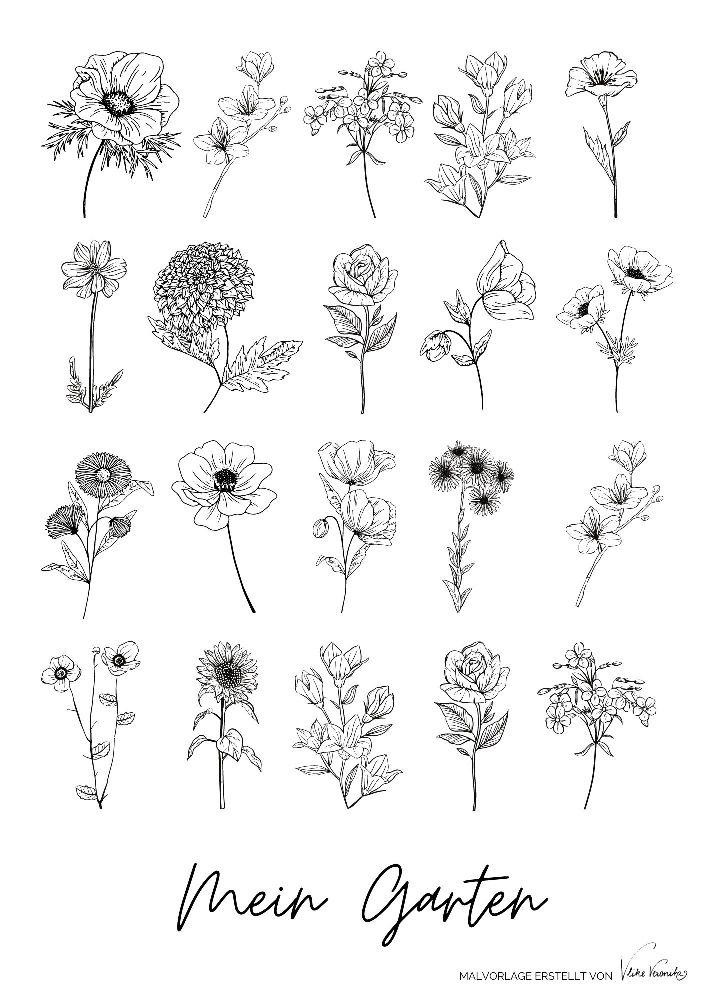 Mein Garten: Ausmalbild mit Blumen für den Sommer.
