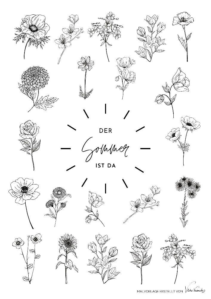 Sommerliches Ausmalbild mit Blumen für Kinder und Erwachsene, die gerne Ausmalbilder für alle Jahreszeiten gestalten