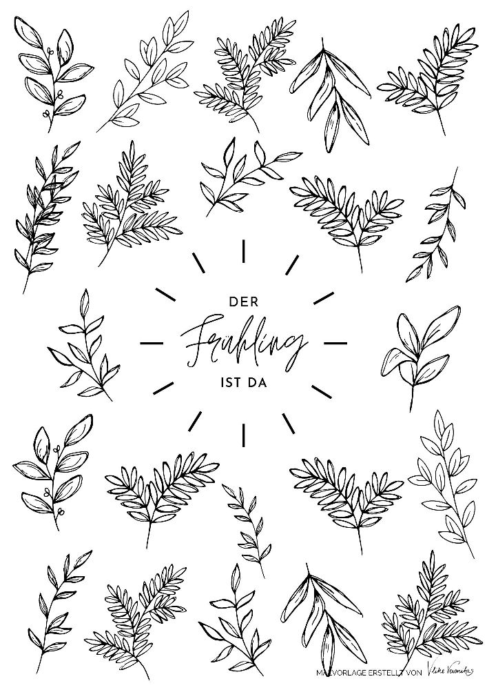 Ausmalbild für den Frühling mit Blättern - für Kinder und Erwachsene, die Ausmalbilder für alle Jahreszeiten suchen.