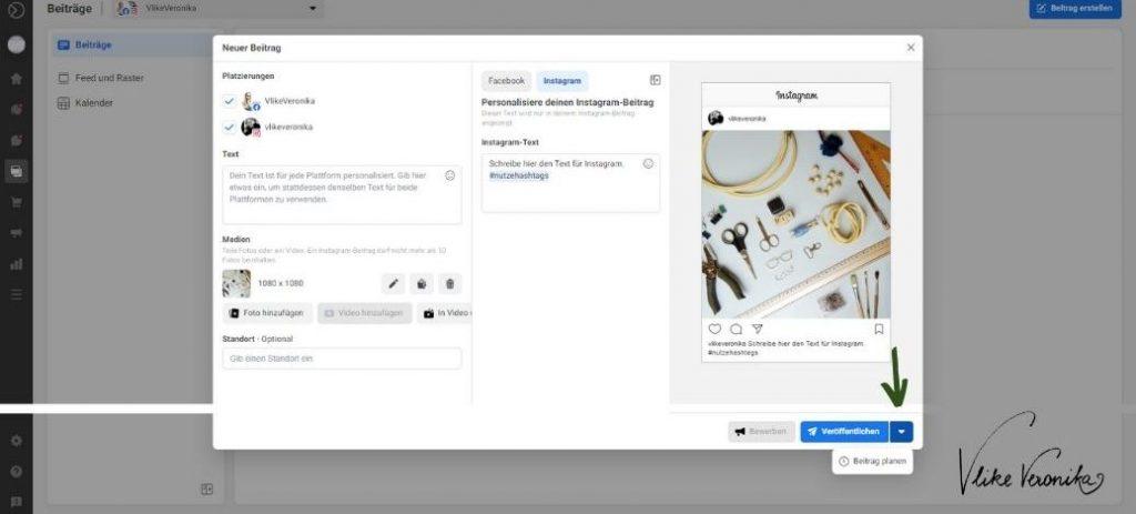Instagram-Beitrag mit der Facebook Business Suite planen.