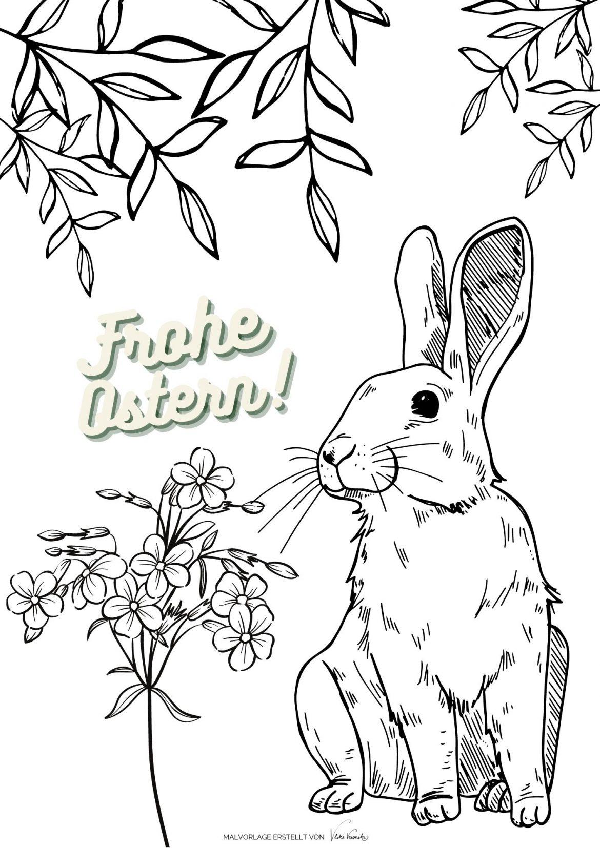 Der Osterhase wünscht frohe Ostern mit frühlingshaften Blättern und Vergissmeinnicht.
