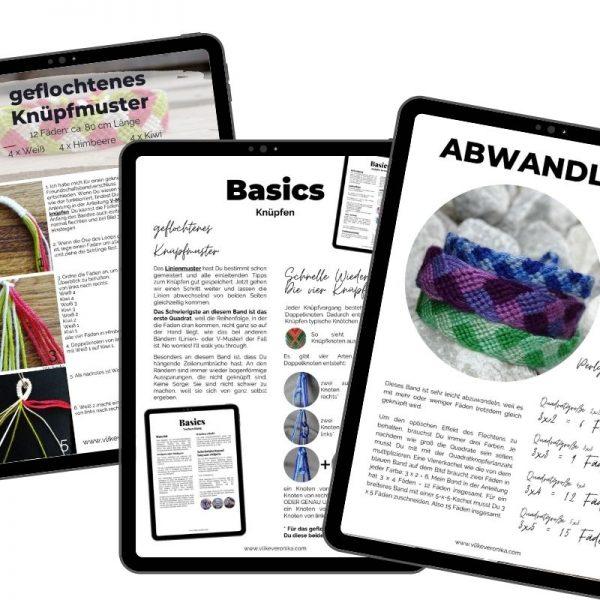 Die pdf-Anleitung für das geknüpfte Flechtmuster umfasst alle Details, die Du zum Knüpfen des Armbandes brauchst.
