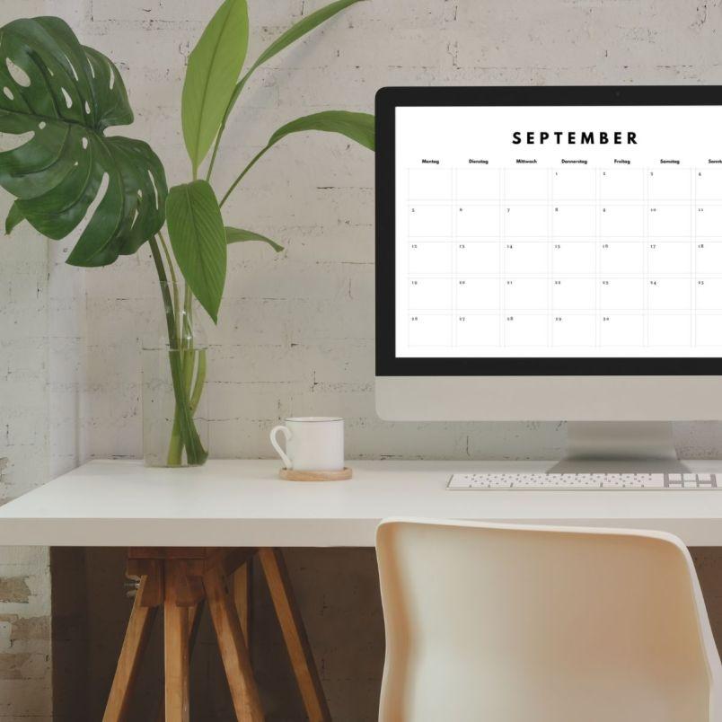 Schlichter A4 Kalender zum Ausdrucken.